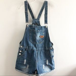 Pants - Distressed denim shorts overalls shortalls Medium